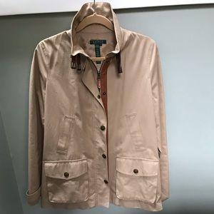 Lauren tan equestrian riding jacket /leather trim